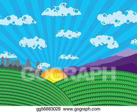 Colorful landscape clipart picture library library Vector Illustration - Colorful landscape. EPS Clipart gg56883028 ... picture library library