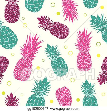 Colorful pineapple clipart graphic Vector Clipart - Vector green pink pineapples summer colorful ... graphic