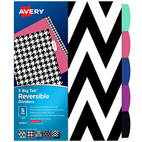 Colorful science clipart for a binder label vector Avery 5 Tab Reversible Fashion Binder Dividers, Assorted Designs, Big Tabs,  1 Set (24914) vector