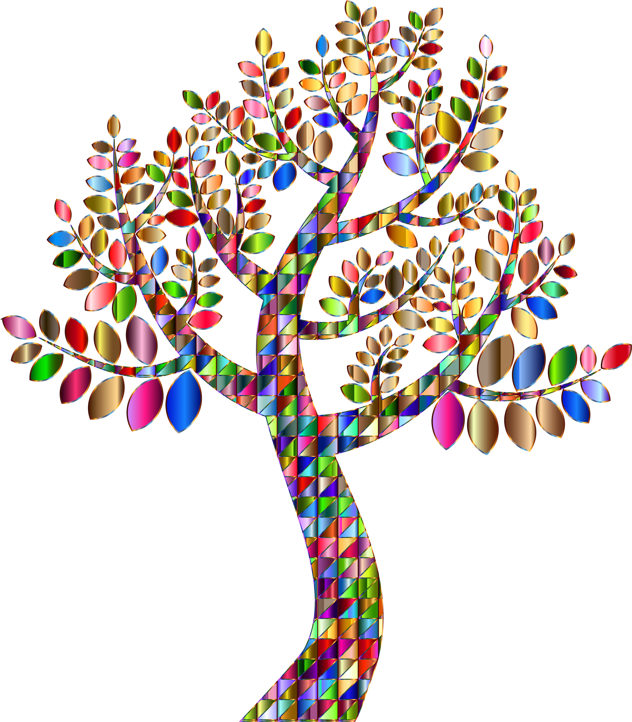 Rainbow tree clipart jpg black and white Clipart - Complex Prismatic Tree No Background jpg black and white