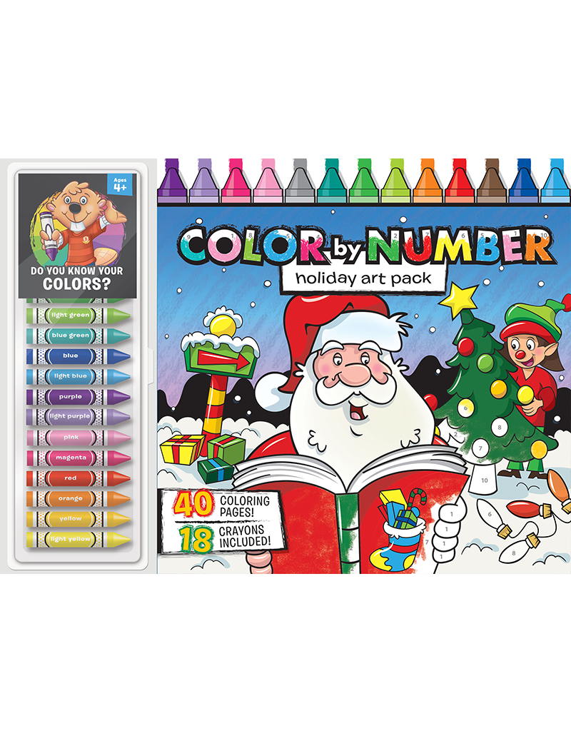 Coloring book and crayons clipart royalty free library Color by Number Floor Pad: Holiday Art Pack | Beaver Books Publishing royalty free library