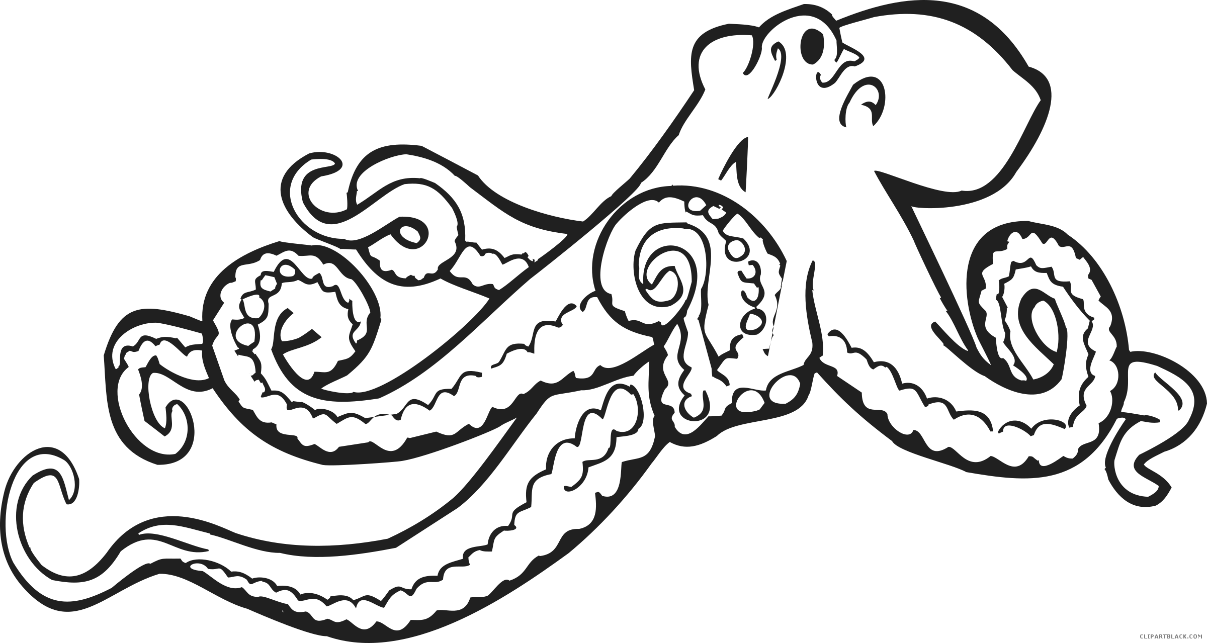 Coloring book clipart image royalty free library Octopus Coloring Book Clipart - ClipartBlack.com image royalty free library
