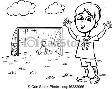 Coloring book grass in field clipart clipart royalty free library Clip Art Vector of boy playing soccer coloring page - Black and ... clipart royalty free library