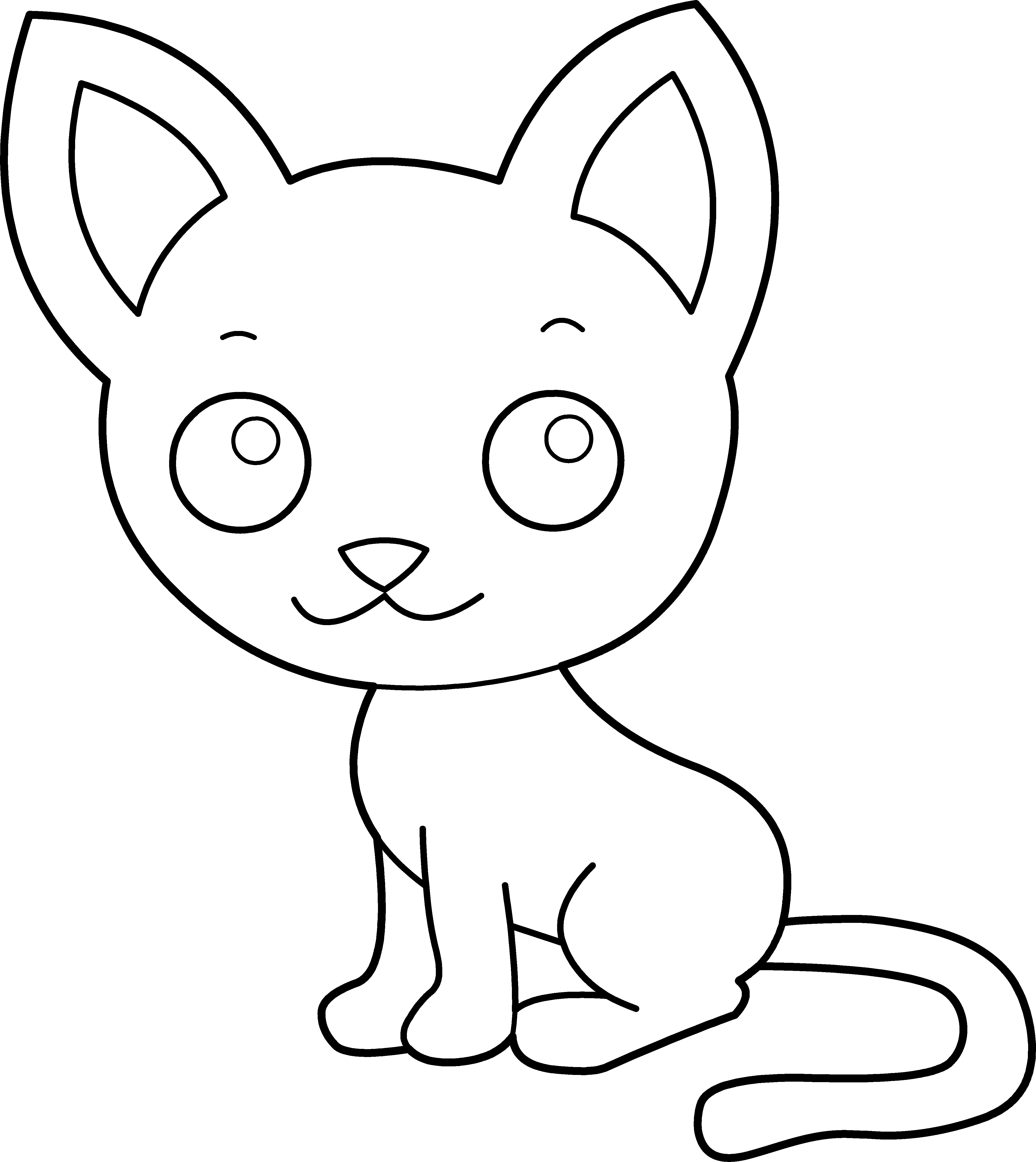 Coloring cat clipart image transparent library Cute Kitty Cat Coloring Page - Free Clip Art image transparent library