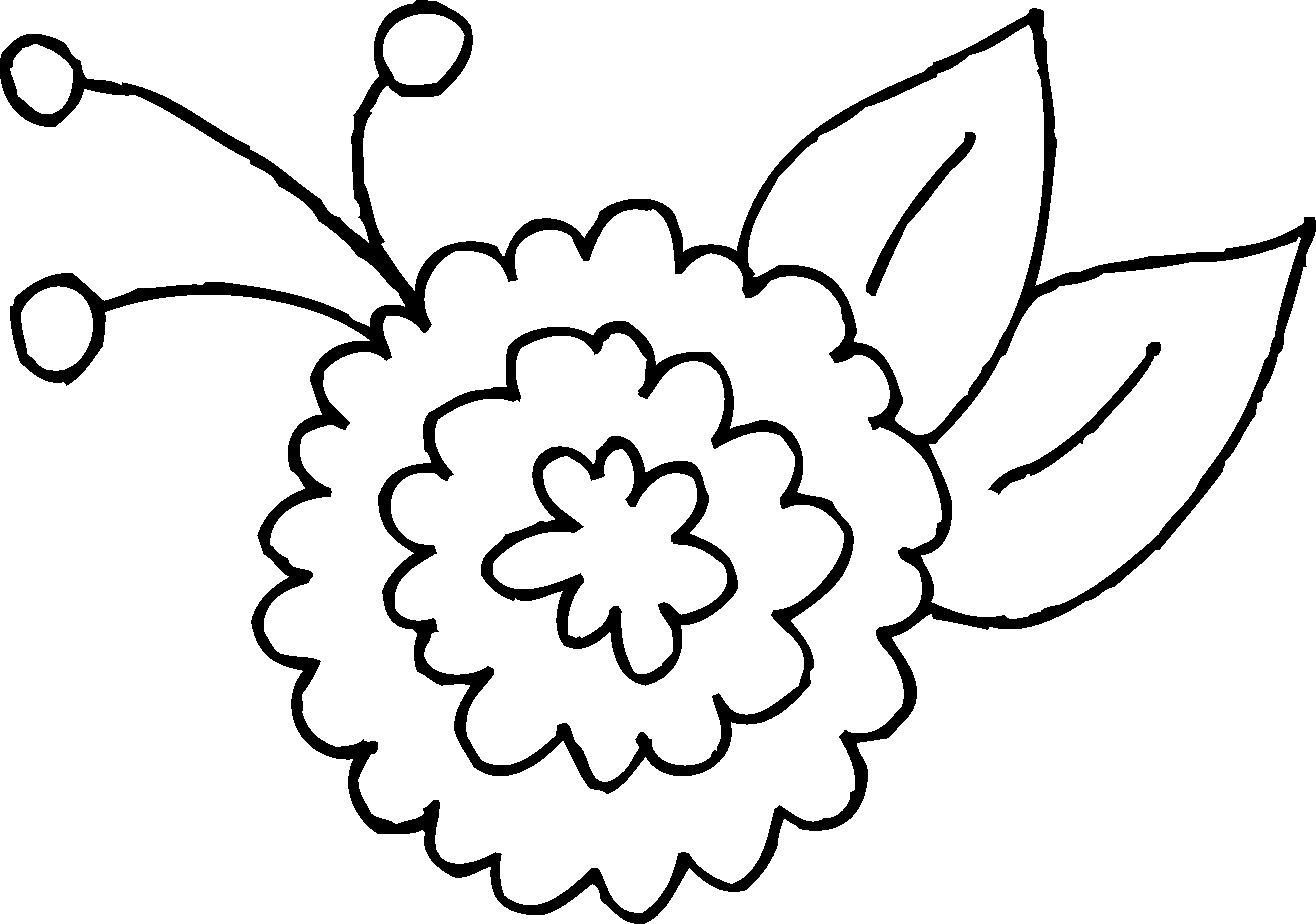 Flower clipart coloring clip black and white library Cute Spring Flower Coloring Page 2 - Free Clip Art clip black and white library