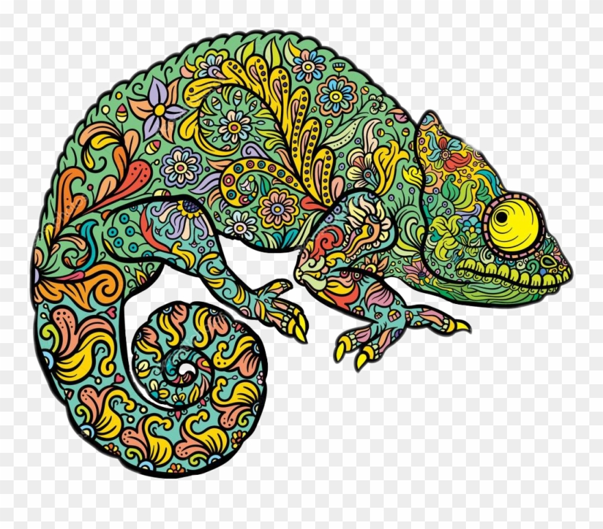Coloring for adults clipart royalty free Ftestickers Chameleon Freetoedit - Coloring Pages For Adults Lizard ... royalty free