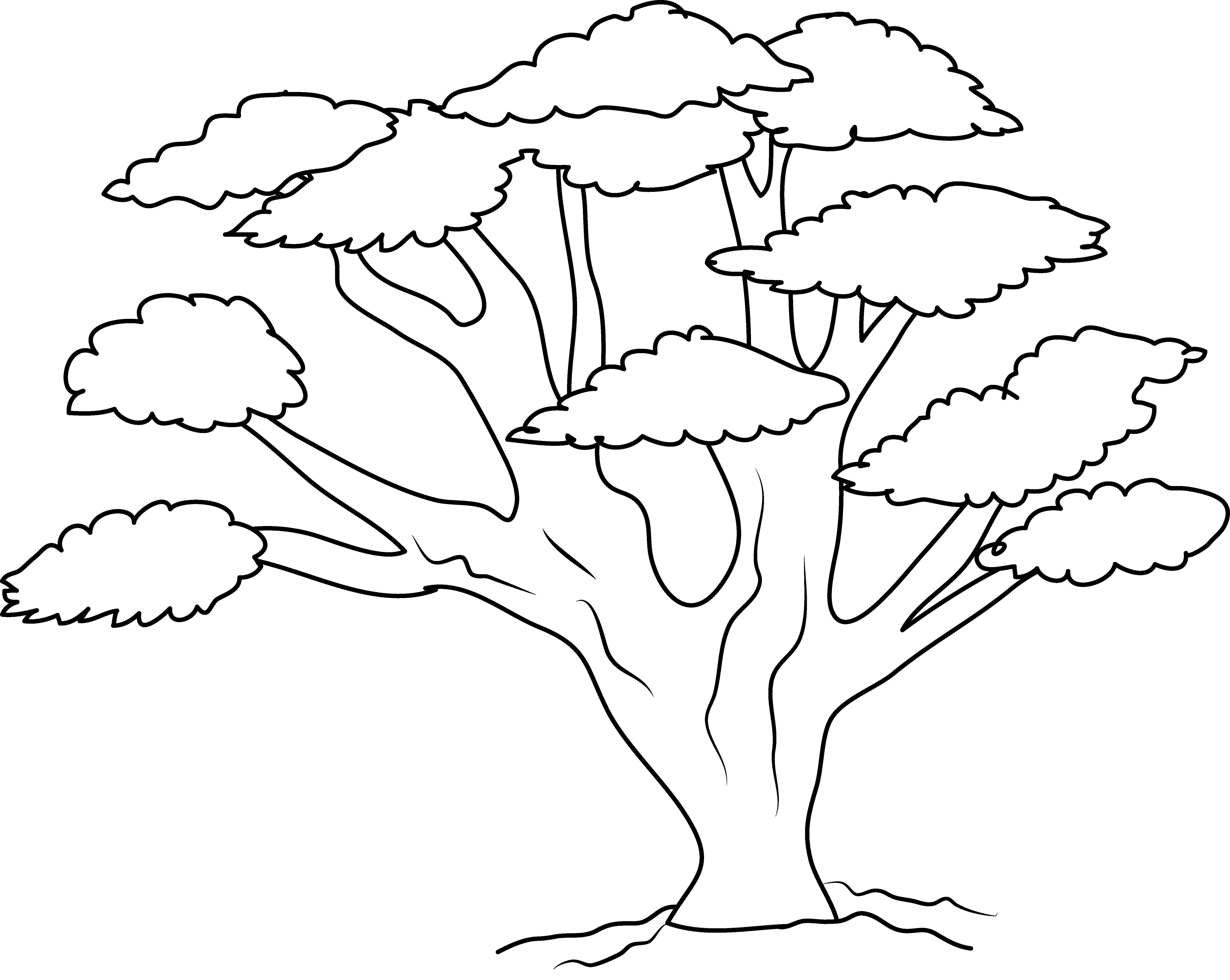Coloring page of a oak tree clipart vector black and white stock Oak Tree Coloring Page - Free Clip Art vector black and white stock