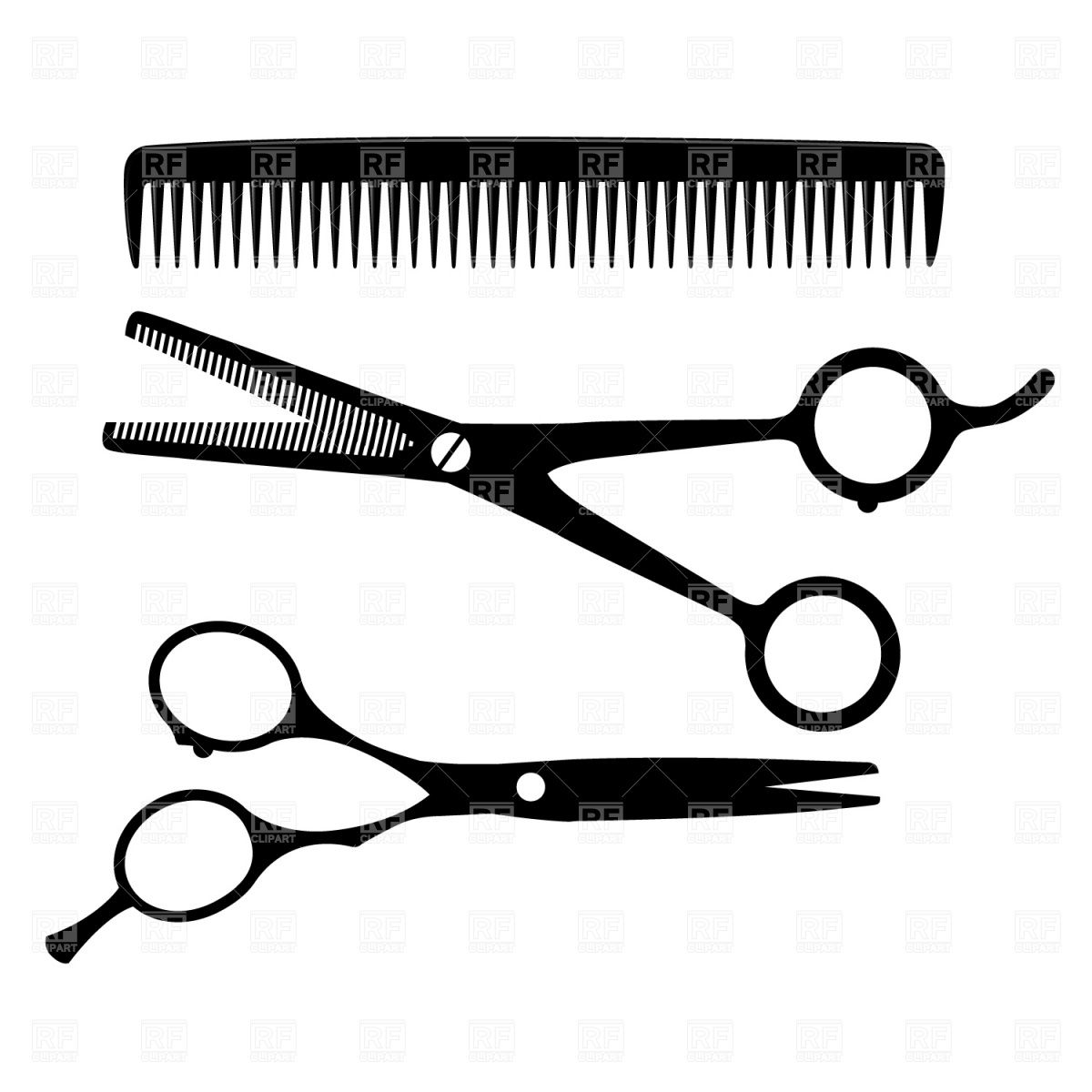 Comb and scissors clipart black and white svg royalty free download Hairdresser equipment - scissors and comb Vector Image – Vector ... svg royalty free download