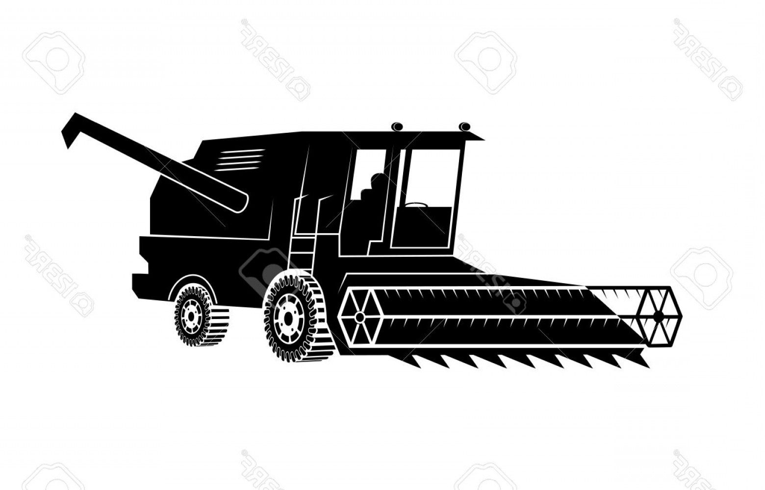 Combine harvester clipart black and white clip freeuse Photostock Vector Combine Harvester On A White Background | GeekChicPro clip freeuse