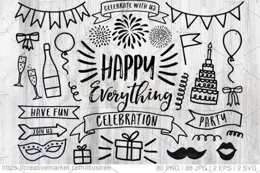 Come and join us clipart birthday party clip art royalty free stock Celebration, party, birthday clipart ~ Graphic Objects ~ Creative Market clip art royalty free stock