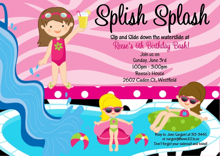 Come and join us clipart birthday party vector Download water slide party invitations clipart Pool Water Slides ... vector