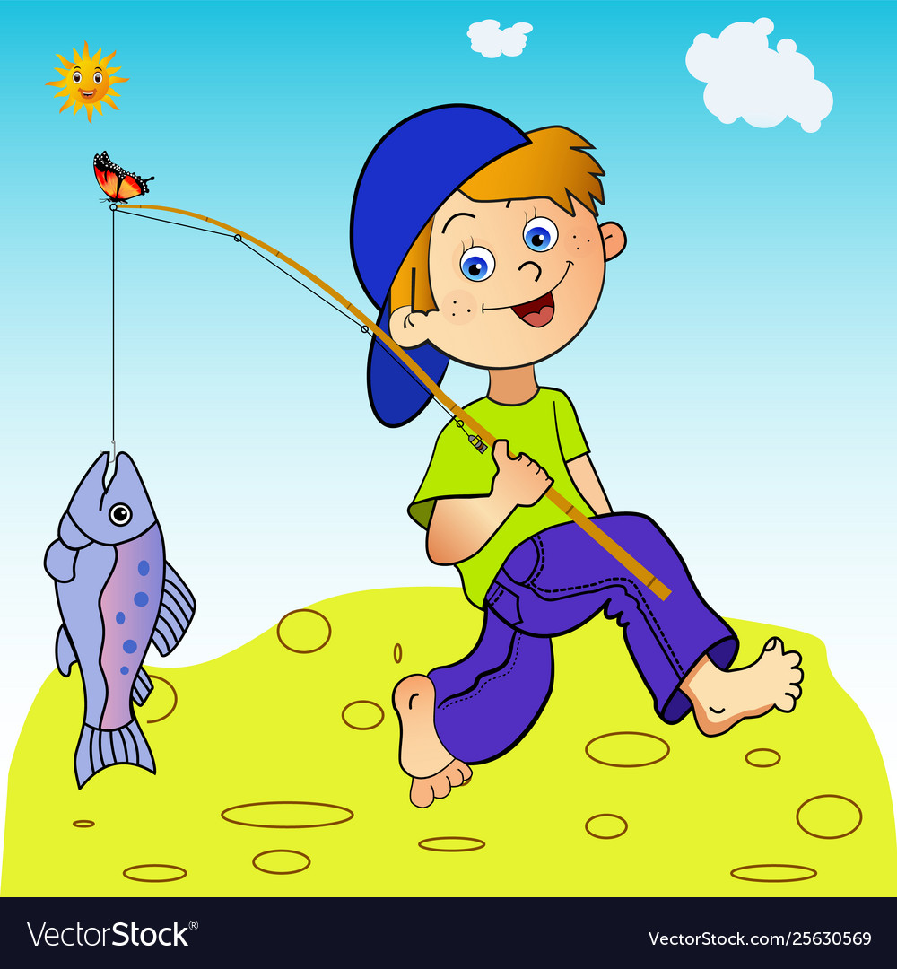 Come back home clipart image royalty free stock Young fisher joyful come back home with a catch image royalty free stock