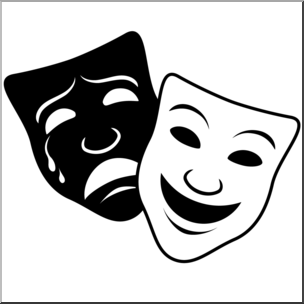 Clip art and b. Free clipart comedy tragedy masks