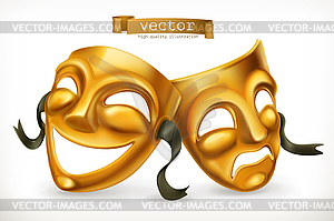 Comedy icon clipart clip art free stock Gold theatrical masks. Comedy and tragedy, 3d icon - vector clipart clip art free stock