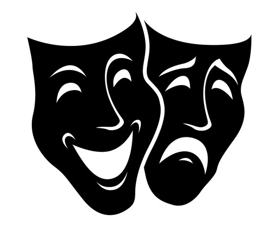 Theater mask svg graphics. Free clipart comedy tragedy masks