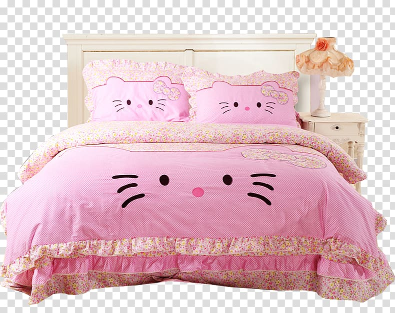 Comforter clipart png freeuse library Hello Kitty Bed sheet Bedding Bedroom Comforter, bed transparent ... png freeuse library