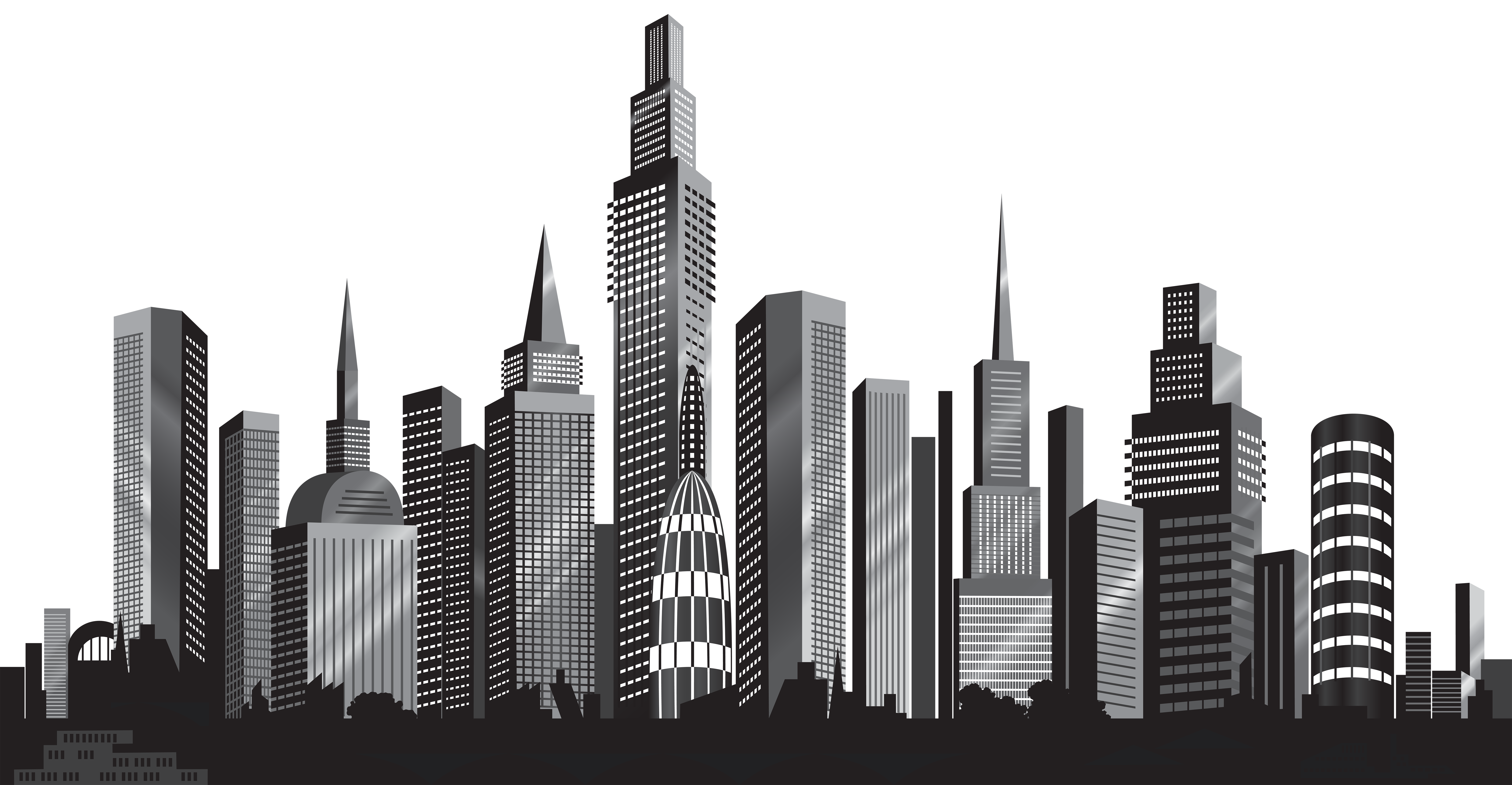 Comic book buildings clipart jpg black and white library Cityscape Silhouette PNG Clip Art Image | Gallery Yopriceville ... jpg black and white library