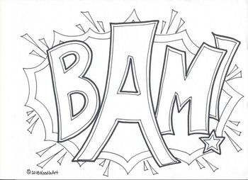 Comic book sounds clipart black and white for kids svg royalty free download Comic Book Superhero Sound Effect Coloring Pages | Color Me Quotes ... svg royalty free download