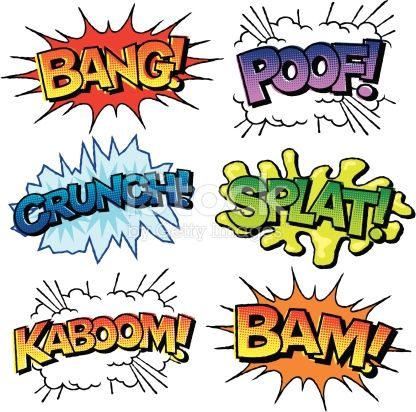 Comic book sounds clipart black and white for kids vector black and white library Various sound effects written in a vintage comic-book style with ... vector black and white library