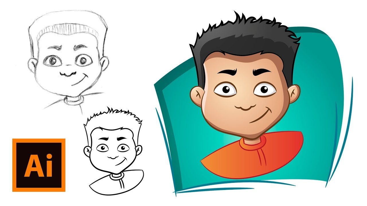 Comic faces clipart graphic black and white How to Draw a Cartoon Face - Adobe Illustrator Drawing Tutorial graphic black and white
