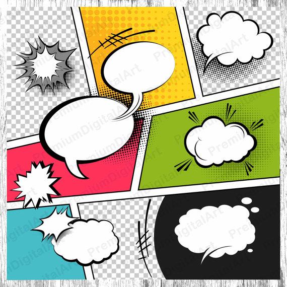 Comic frame clipart image 9 Comics Speech Bubbles, Printable Frames clipart,set of labels ... image