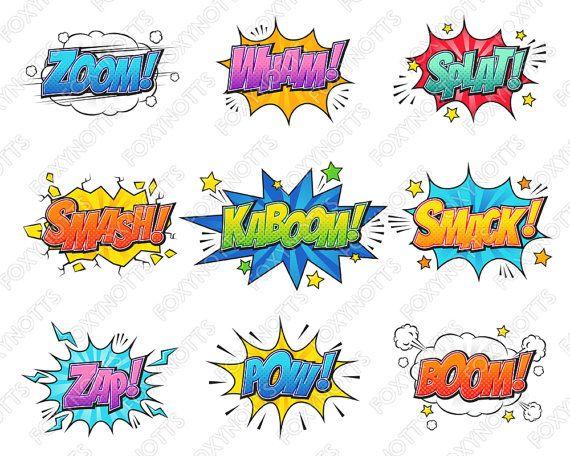 Comic words clipart vector library Superhero Comic Book Words Clip Art - Text Bubbles, Digital Download ... vector library