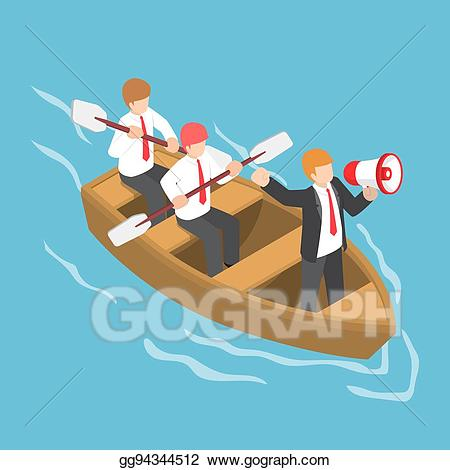 Command and control clipart vector royalty free Vector Clipart - Isometric businessman in rowing team with leader ... vector royalty free