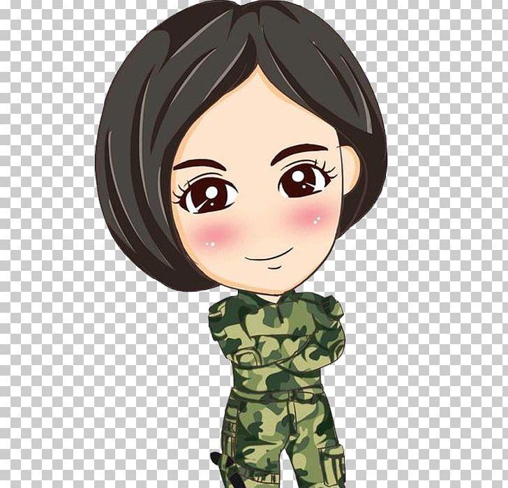 Commando dress clipart vector Commando Female Short Hair Clips PNG, Clipart, Black Hair, Cartoon ... vector