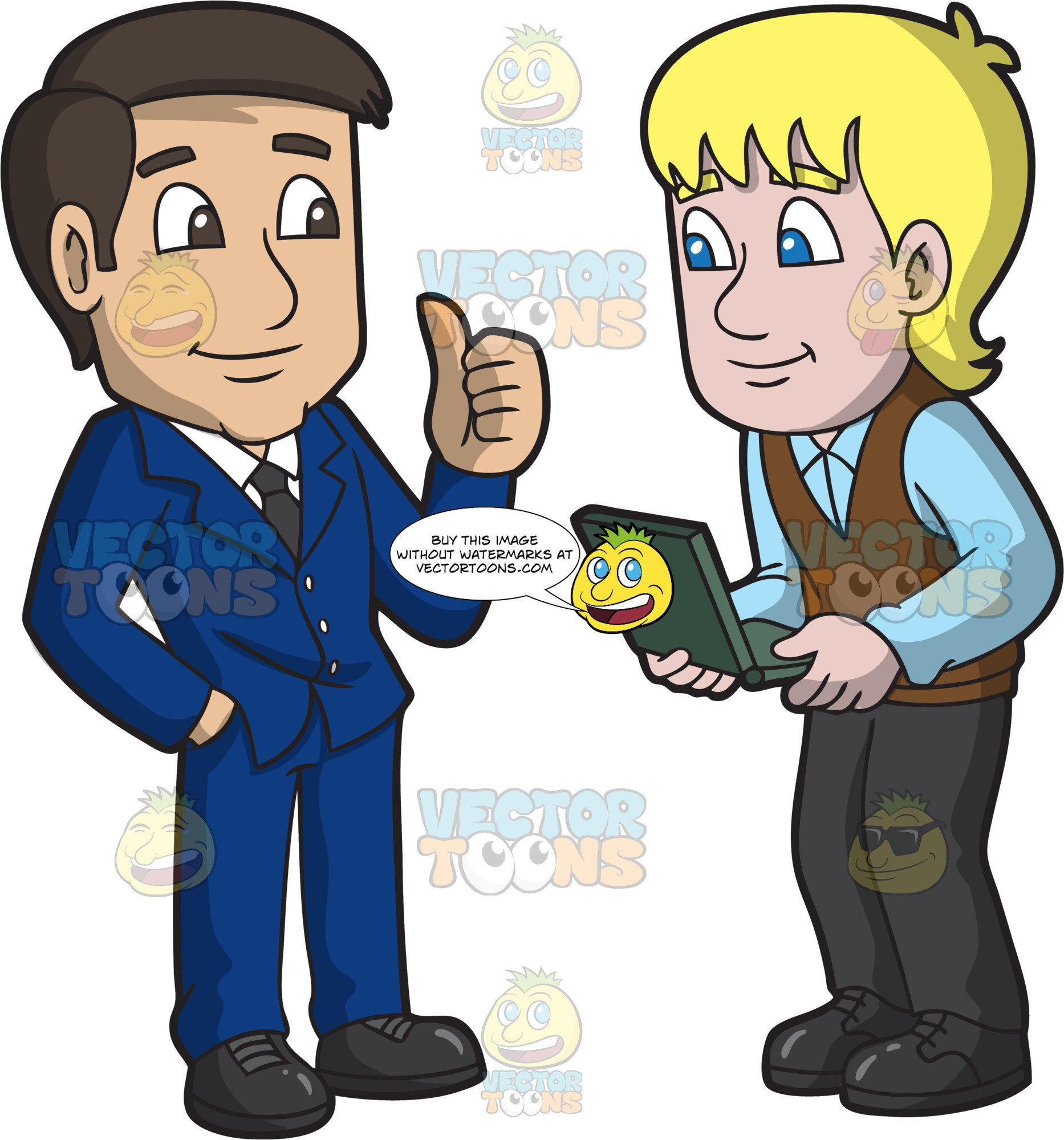 Commend clipart clip transparent download A Male Boss Taking Time To Commend His Employee clip transparent download