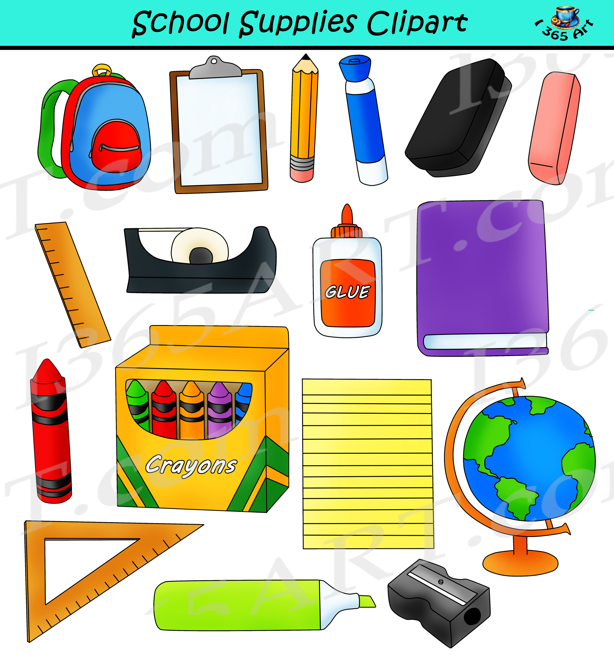 School supplu clipart svg free download School Supplies Clipart - Back To School Commercial Graphics svg free download
