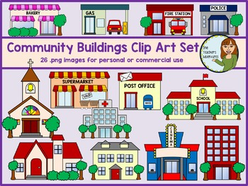 Community buildings clipart free png black and white Community Buildings Clip Art Set - 26 images for personal and ... png black and white