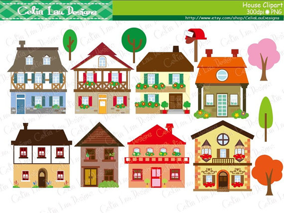 Community buildings clipart free svg free download House clipart - houses clip art, buildings, homes, cute houses ... svg free download