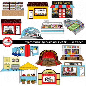 Community buildings clipart free vector freeuse stock My Community Buildings Set 03 in FRENCH Clipart by Poppydreamz vector freeuse stock