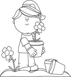 Community helper gardener clipart black and white clip royalty free Free Planting Garden Cliparts, Download Free Clip Art, Free Clip Art ... clip royalty free