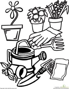 Community helper gardener clipart black and white svg transparent Color the Gardening Gear | Elementary School Themes | Garden, Garden ... svg transparent