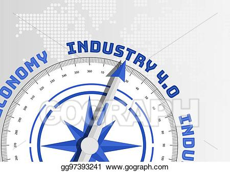 Compass needle clipart svg stock Vector Stock - Compass needle pointing towards industry 4. 0 text as ... svg stock