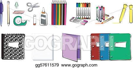 Composition notebook and folder clipart graphic black and white library Vector Art - School and office supplies. EPS clipart gg57611579 ... graphic black and white library
