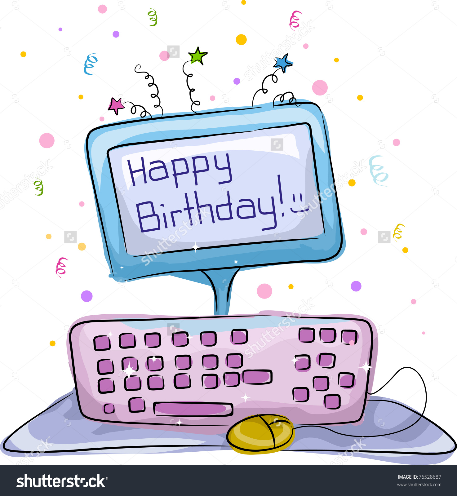 Computer birthday cake clipart banner library stock Illustration Birthday Cake Computer Theme Stock Vector 76528687 ... banner library stock