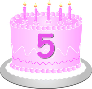 Computer birthday cake clipart graphic black and white stock Birthday Cake Clipart Image - 5th Birthday Cake graphic black and white stock