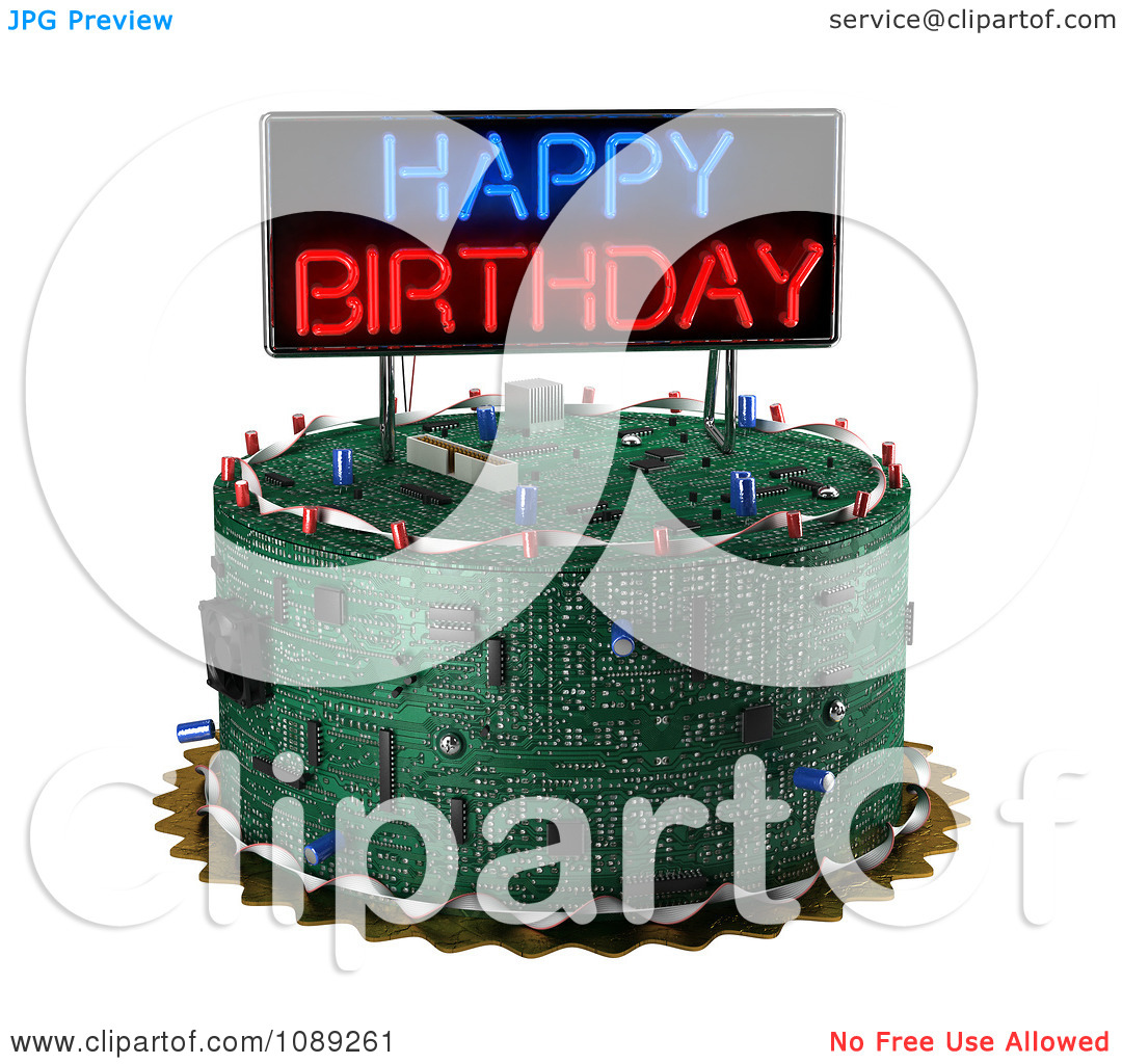 Computer birthday cake clipart jpg freeuse library Clipart 3d Computer Circuit Board Birthday Cake With A Neon Sign ... jpg freeuse library