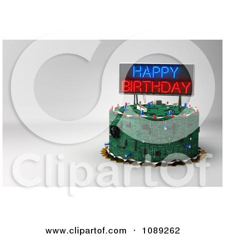 Computer birthday cake clipart clip art transparent stock Clipart 3d Computer Circuit Board Birthday Cake With A Neon Sign ... clip art transparent stock
