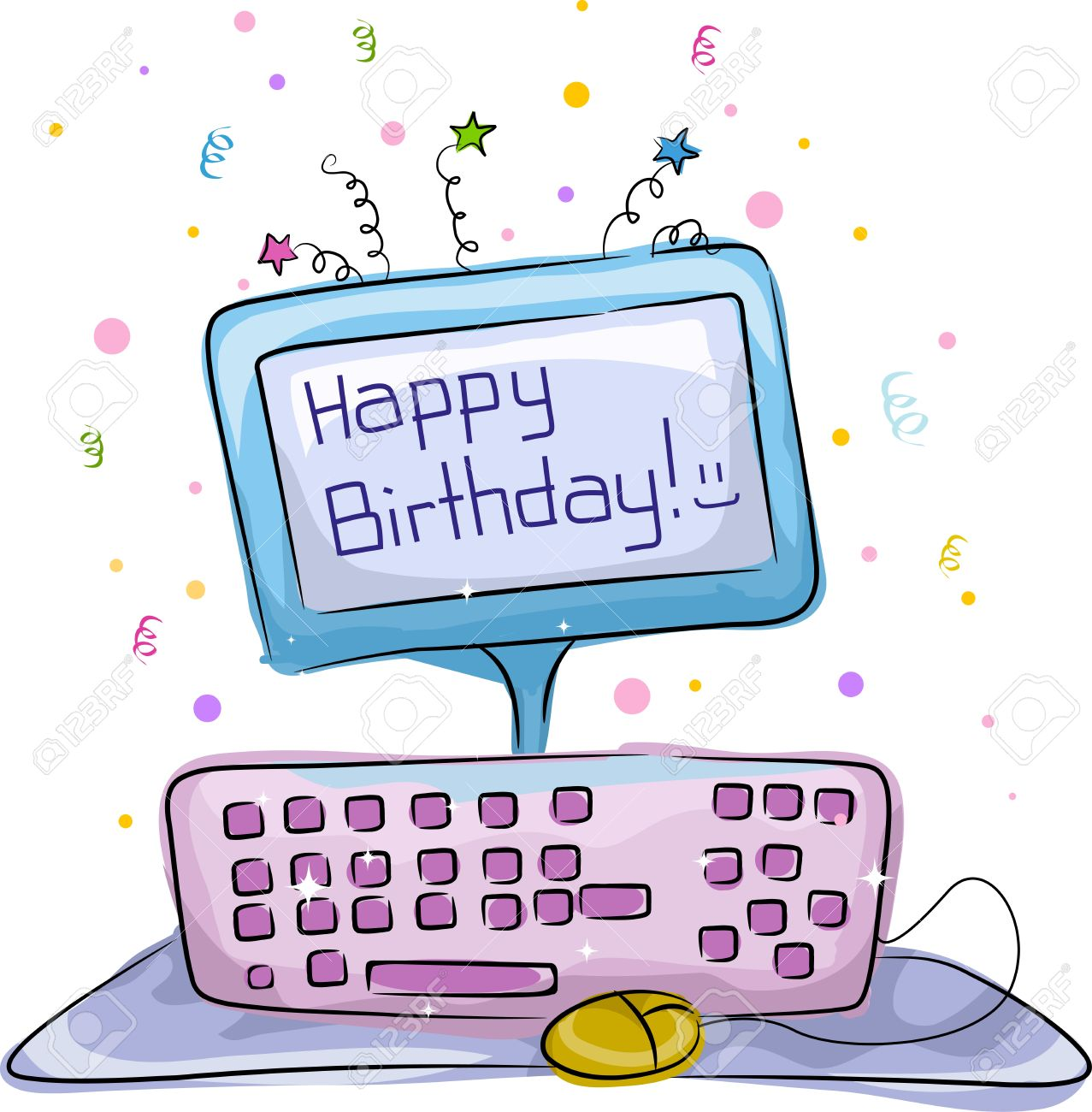 Computer birthday cake clipart svg royalty free download Illustration Of A Birthday Cake With A Computer Theme Stock Photo ... svg royalty free download
