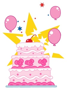 Computer birthday cake clipart png stock Party Clipart Image - Pink Balloons and a Pink Birthday Cake. png stock