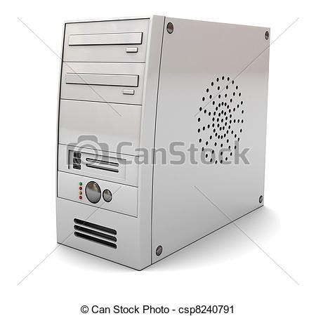 Of d illustration desktop. Computer case clipart