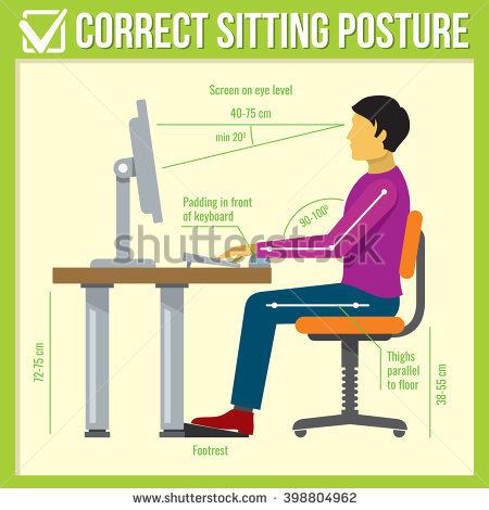 Computer clipart for kids keyboard posture image black and white Sitting Posture Stock Images, Royalty-Free Images & Vectors ... image black and white