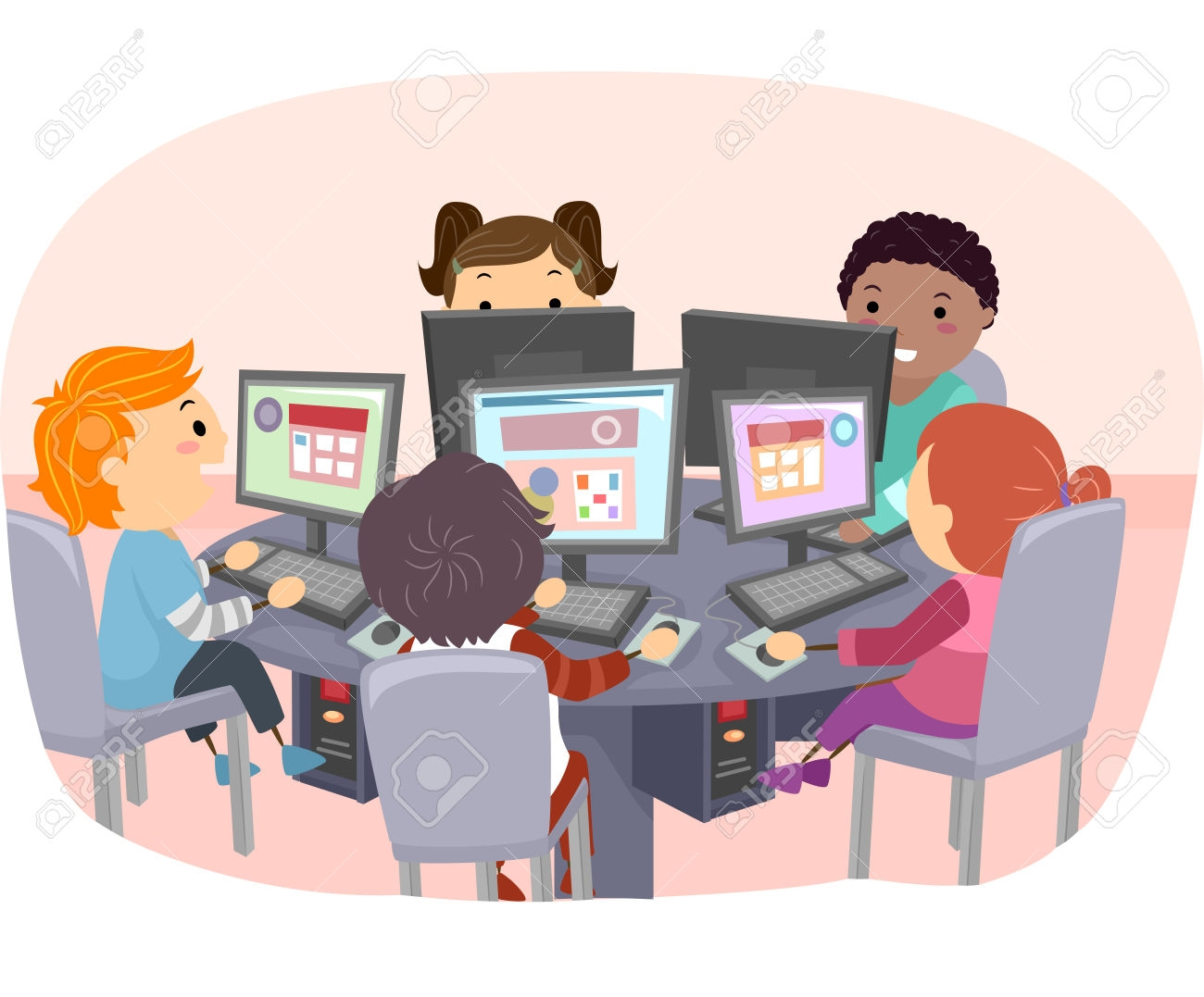 Computer clipart with kids. Lab clipartfest