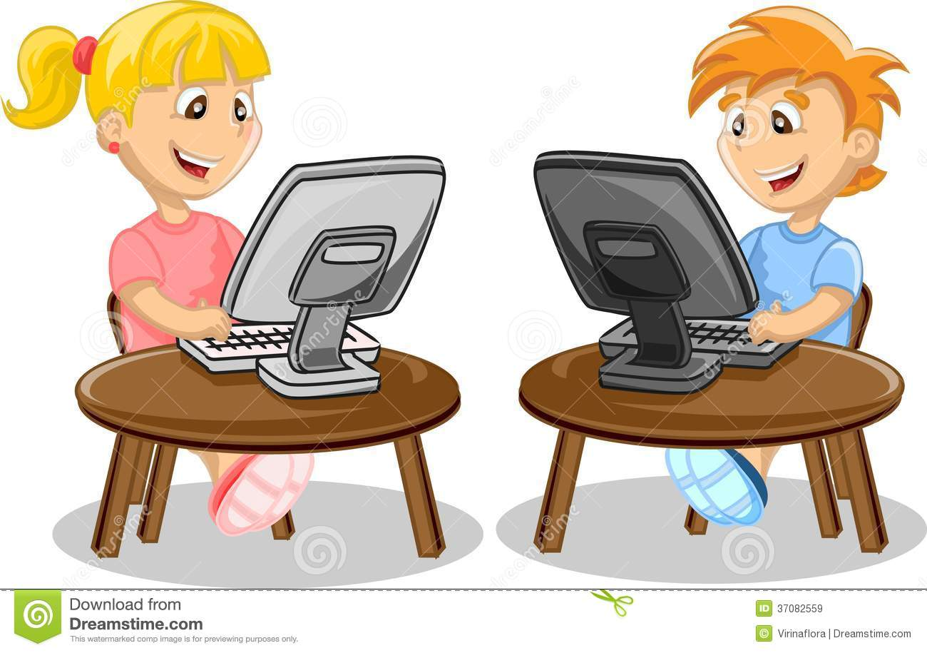 Computer clipart with kids. Free for clipartfest children