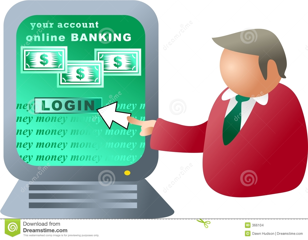 Computer in bank clipart