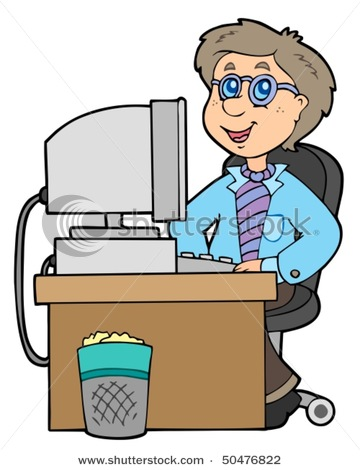 Computer in hospital clipart clip free download Cartoon Office Worker Working at His Desk on a Computer - Vector ... clip free download