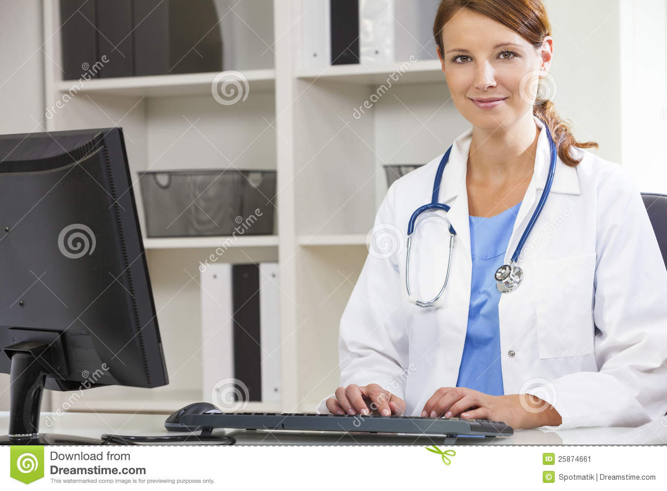 Computer in hospital clipart clip download Female Woman Hospital Doctor Using Computer Stock Image - Image ... clip download